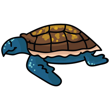 Cute sea turtle side cartoon vector illustration motif set. Hand drawn isolated endangered ocean life elements clipart for animal conservation blog, world turtle day web buttons.