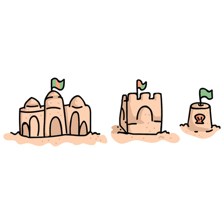 Cute beach sand castles with flag cartoon vector illustration motif set. Hand drawn isolated beach summer day elements clipart for vacation blog, seaside shell graphic.