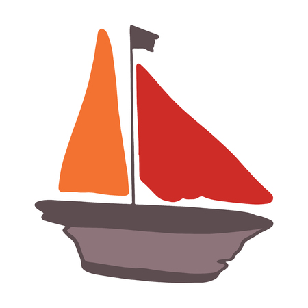 Cute driftwood sailboat cartoon vector illustration motif set. Hand drawn isolated seafaring elements clipart for nautical blog, marine graphic, sailing web buttons.