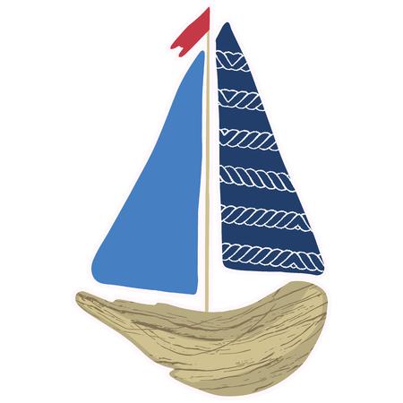 Cute navy driftwood boat cartoon vector illustration motif set. Hand drawn isolated seafaring elements clipart for nautical blog, marine graphic, sailing. Illustration
