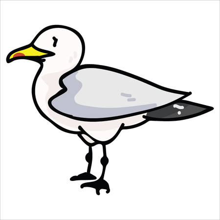 Cute seagull from the side cartoon vector illustration motif set. Hand drawn isolated seaside wildlife elements clipart for nautical birdwatching blog, bird graphic, feather web buttons. Vektoros illusztráció