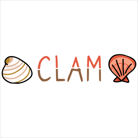 Cute clam text cartoon vector illustration motif set. Hand drawn isolated marine life elements. Clipart for ocean text blog, mollusk graphic, nautilus web buttons.