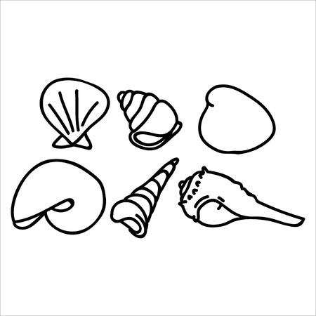 Small seashells monochrome lineart cartoon vector illustration motif set. Hand drawn isolated marine life elements. Clipart for ocean text blog, mollusk graphic.