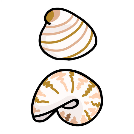 Cute beige shell fish cartoon vector illustration motif set. Hand drawn isolated marine life elements. Clipart for ocean text blog, mollusk graphic, nautilus web buttons.