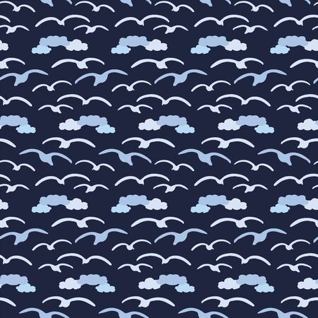 Cute seagull in the dark blue clouds silhouette cartoon seamless vector pattern. Hand drawn ocean life tile. All over print for birdwatching blog, nautical graphic, feather home decor.