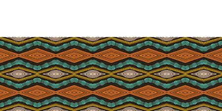 Colorful hand drawn african tribal diamonds pattern. Seamless vector border background. Hand drawn horizontal chevron style wave. Organic ethnic diamond ribbon trim. Woven stripes fashion edging tape Ilustrace