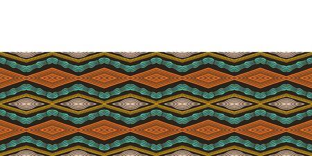 Colorful hand drawn african tribal diamonds pattern. Seamless vector border background. Hand drawn horizontal chevron style wave. Organic ethnic diamond ribbon trim. Woven stripes fashion edging tape Illustration