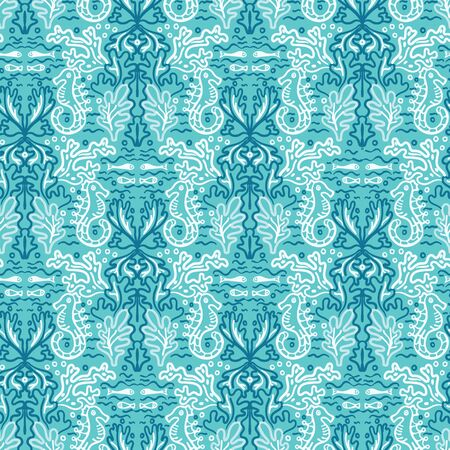 Sealife damask seahorse pattern. Seamless vector ocean background. Hand drawn seaweed algae nature all over print. For summer beach wear, turquoise marine animal textiles, yacht sailing fashion fabric