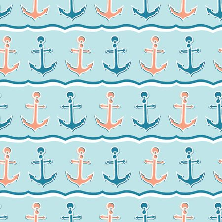 Cute stripe marine anchor seamless vector pattern. Hand drawn ocean sailing tile. All over print for seafaring blog, nautical graphic, preppy sailor fashion allover print. Maritime home decor textiles Vettoriali