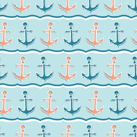 Cute stripe marine anchor seamless vector pattern. Hand drawn ocean sailing tile. All over print for seafaring blog, nautical graphic, preppy sailor fashion allover print. Maritime home decor textiles Illustration