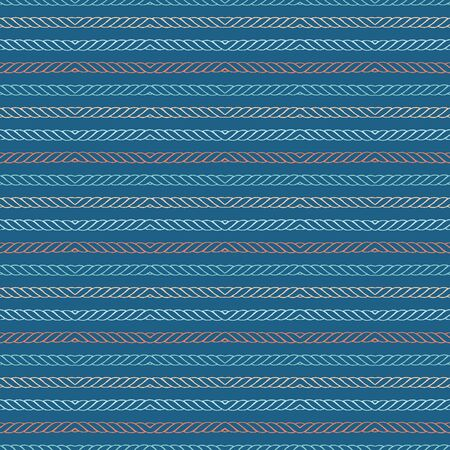 Hand drawn textured maritime rope stripes. Seamless vector pattern. Striped seaside coastal fashion textiles. All over print. Nautical rigging stationery, ocean marine home decor. Turquoise teal green