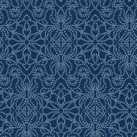 Damask motif sashiko stitch pattern. Japanese needlework seamless vector background. Hand drawn line texture for textile print. Classic Japan embroidery decor, asian fusion kimono quilted template. 写真素材 - 125619226