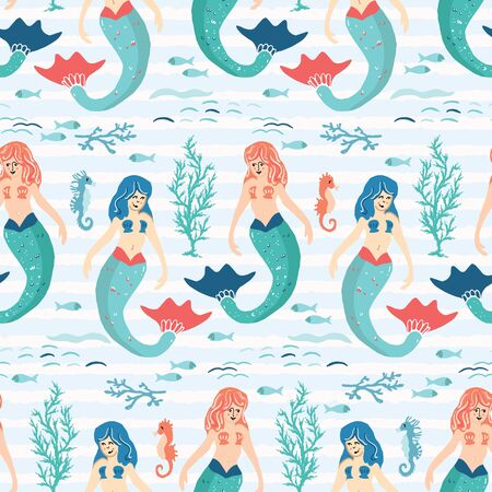 Cute magical blue mermaid seamless pattern. Hand drawn cartoon vector illustration. Magical fantasy under the sea animals on stripes. Nautical beach textiles, kids fun sealife fashion all over prints.