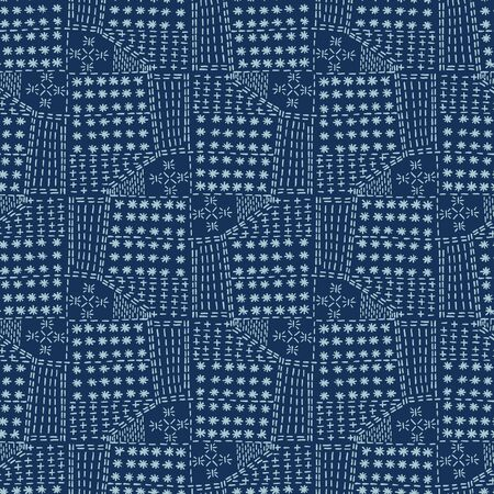 Damask motif sashiko stitch pattern. Japanese needlework seamless vector background. Hand drawn cross patch texture textile print. Classic Japan embroidery, asian fusion kimono quilted template.