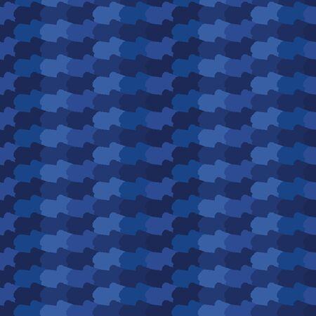Indigo blue abstract organic waves stripes. Vector gradient pattern seamless background. Hand drawn wavy lines graphic illustration. Trendy home decor fashion print, asian fusion denim navy wallpaper.