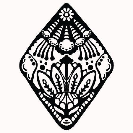Ornamental folk art graphic design element. Hand drawn linocut block print style. Black folkloric clip art decor icon. Decorative diamond flourish motif. Arabesque tattoo symbol shape. Drawing sketch. Vector Illustration