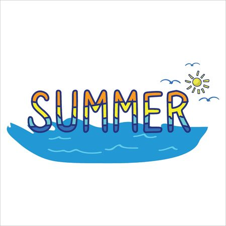 Summer typography cartoon vector illustration motif set. Hand drawn isolated beach holiday elements clipart for seaside calligraphy blog, sea life seagull graphic, aqua web buttons. Banque d'images - 126067414