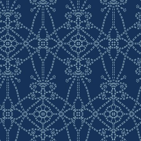 Flower butterfly motif sashiko style. Japanese needlework seamless vector pattern. Hand stitch blue line textile print. Classic japan decor, asian fusion embroidery. Kimono quilting template. 写真素材 - 126167882
