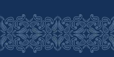 Floral leaf paisley motif sashiko style. Japanese needlework seamless border vector pattern. Hand stitch indigo blue boteh foulard ribbon trim. Classic japan decor. Embroidery kimono quilt template.  イラスト・ベクター素材