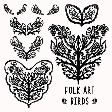 Ornamental leaf bird folk art elements for design set. Hand drawn linocut block print style. Black folkloric songbird clip art collection. Decorative animal flourish motif outline. Tattoo symbol shape