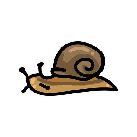 Brown snail cartoon vector illustration motif set. Hand drawn isolated garden creepy crawlie elements clipart for helix shell blog, slimy bug graphic, gastropod web buttons.