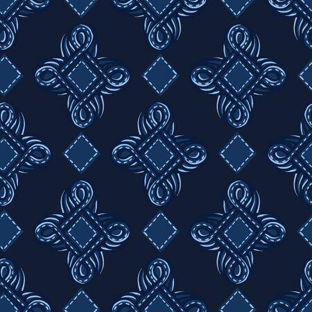 Indigo blue ornament ogee shapes. Vector pattern seamless background. Hand drawn foulard jewel graphic illustration. Trendy retro home, baroque masculine fashion print, navy decorative wallpaper