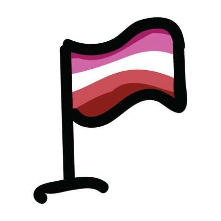 Cute femme lesbian flag cartoon vector illustration motif set. Hand drawn isolated LGBTQ pride elements clipart for wlw blog, sexuality graphic, love web buttons. Illustration