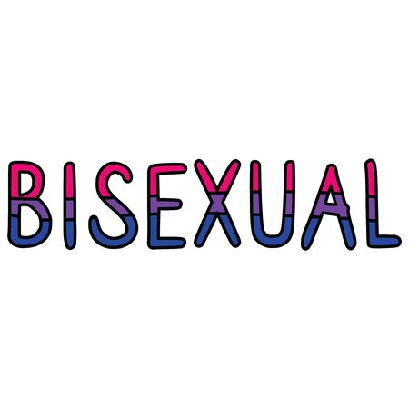 Cute bisexual typography cartoon vector illustration motif set. Hand drawn isolated LGBTQ bi elements clipart for pride blog, text graphic, diversity web buttons.