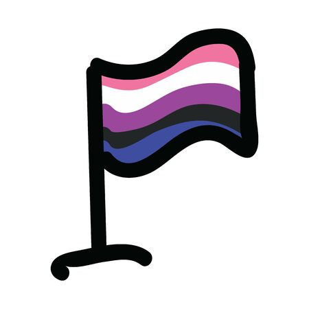 Cute gender fluid flag cartoon vector illustration motif set. Hand drawn isolated LGBTQ pride elements clipart for gay blog, sexuality graphic, trans web buttons.