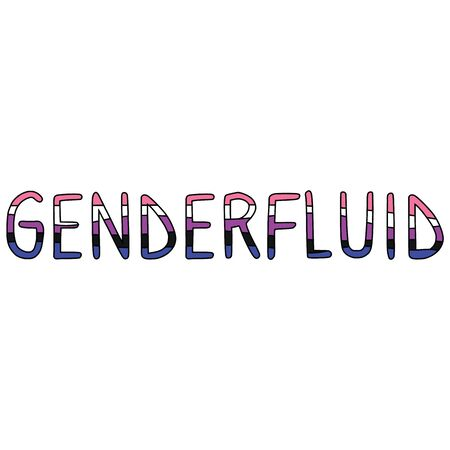 Cute gender fluid typography cartoon vector illustration motif set. Hand drawn isolated LGBTQ pride elements clipart for trans blog, text graphic, gender web buttons.
