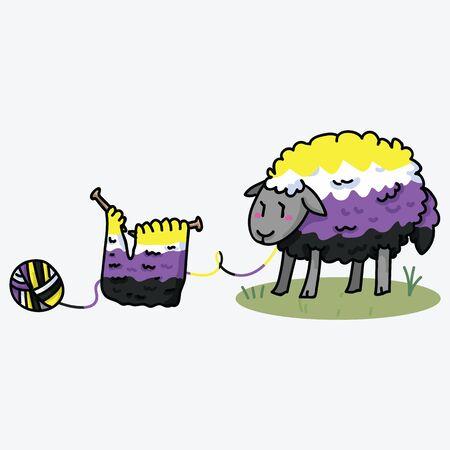 Cute non binary fluffy sheep cartoon vector illustration motif set. Hand drawn isolated knitting yarn elements clipart for pride handcraft blog, diversity graphic, lgbt web buttons. Ilustração