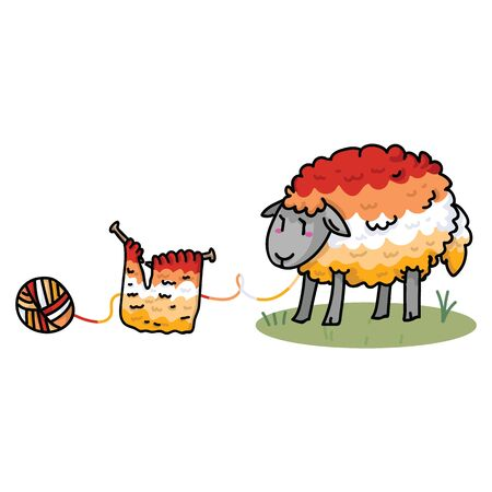 Cute butch lesbian fluffy sheep cartoon vector illustration motif set. Hand drawn isolated knitting yarn elements clipart for pride handcraft blog, diversity graphic, lgbt web buttons.  イラスト・ベクター素材