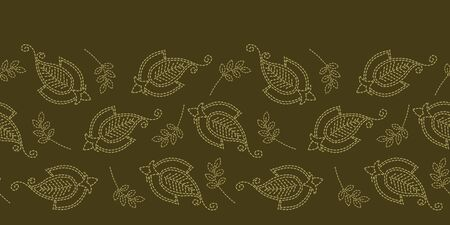 Floral leaf paisley motif running stitch border. Victorian needlework seamless vector pattern. Hand stitched boteh foulard textile ribbon trim. Old green handicraft decor. Embroidery quilt template.  イラスト・ベクター素材