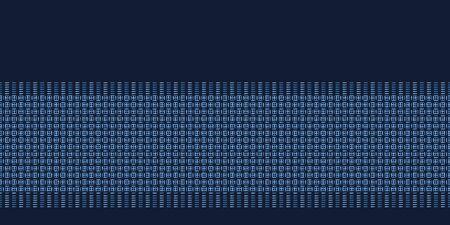 Indigo blue abstract organic woven stripes. Vector border pattern seamless background. Hand drawn classic lines textured style. Trendy home decor, men shirting fashion edging, retro navy ribbon trim