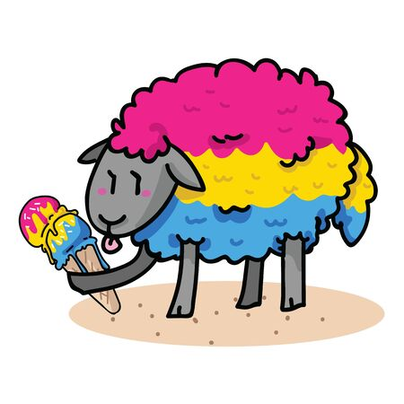 Cute pansexual sheep with tasty ice cream cartoon vector illustration motif set. Hand drawn isolated summer treat elements clipart for pride blog, diversity graphic, web buttons.
