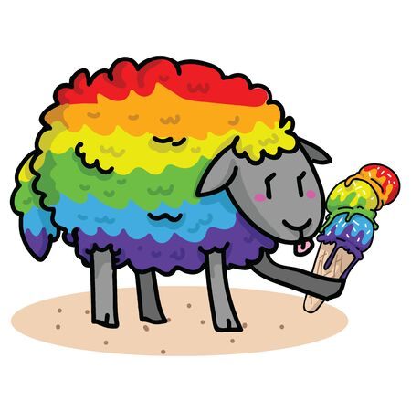 Cute gay sheep with tasty ice cream cartoon vector illustration motif set. Hand drawn isolated summer treat elements clipart for pride blog, diversity graphic, lgbt web buttons.