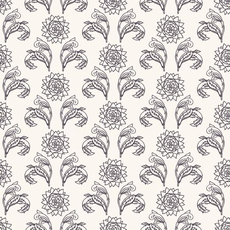 Nouveau flower motif Jugendstil style. Vector seamless pattern. Passionflower damask textiles swatch. Decorative arts crafts ornamental home decor. Modernist monochrome floral all over print. Illustration