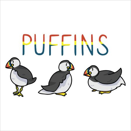 Puffin text cartoon vector illustration motif set. Hand drawn isolated seaside wildlife elements clipart for nautical birdwatching blog, bird graphic, feather web buttons.