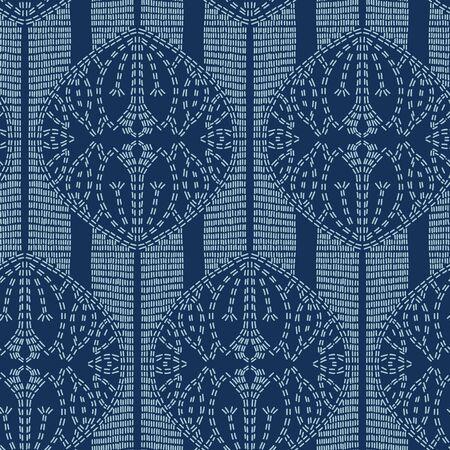 Lotus flower motif sashiko style. Japanese needlework seamless vector pattern. Hand stitched indigo lines textile print. Classic japan decor, asian fusion embroidery. Kimono quilting template. 写真素材 - 127569894