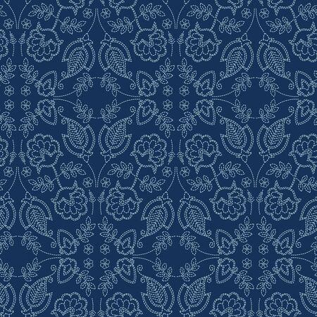 Floral leaf damask motif sashiko style. Japanese needlework seamless vector pattern. Hand indigo blue lace textile print. Classic japan decor, asian fusion embroidery. Kimono quilt template.