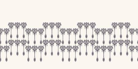 Art Nouveau ornamental flower motif border. Jugendstil style ribbon trim. Retro floral damask textile tape. Decorative arts crafts folksy home decor. Modernist trendy monochrome. Vector seamless edge