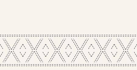 Decorative running stitch embroidery border. Victorian diamond needlework pattern. Hand drawn ornamental textile ribbon. Ecru cream home decor edging. Monochrome chevron seamless vector background.  イラスト・ベクター素材