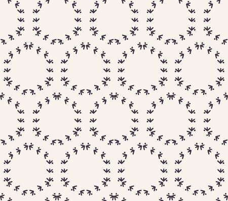 Decorative fern stitch embroidery pattern. Circle grid stripes needlework. Hand drawn ornamental textile print. Ecru cream handicraft home decor. Monochrome simple background. Seamless vector swatch 矢量图像