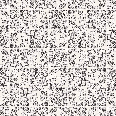 Decorative running stitch embroidery pattern. Rounded square needlework seamless vector background. Hand drawn ornamental textile print. Ecru cream handicraft home decor. Monochrome spiral sashiko. 写真素材 - 128178868