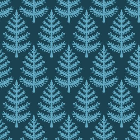 Hand drawn stylized Christmas tree pattern. Geometric abstract fir forest on green background. Cute winter holiday all over print. Festive yule gift wrapping paper illustration. Seamless vector swatch