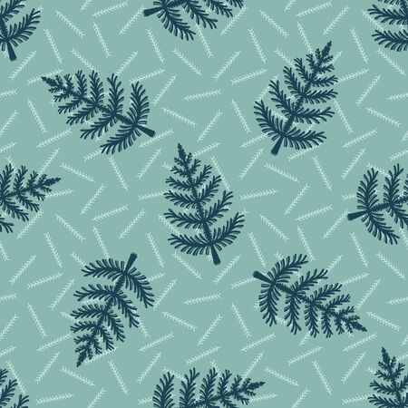 Hand drawn stylized Christmas tree pattern. Geometric abstract fir forest on green background. Cute winter holiday all over print. Festive yule gift wrapping paper illustration. Seamless vector swatch Illustration