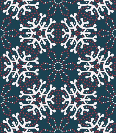 Hand drawn abstract winter snowflakes pattern. Stylish crystal stars on greenbackground. Elegant simple holiday all over print. Festive gift wrapping paper yule illustration. Seamless vector swatch.