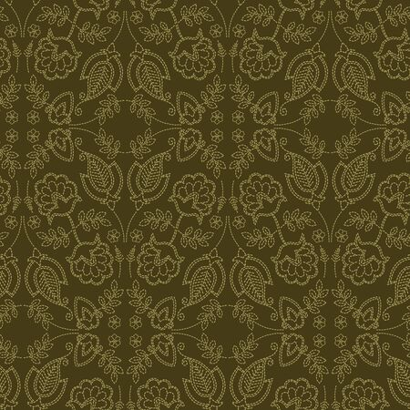 Floral leaf paisley motif running stitch style. Victorian needlework seamless vector pattern. Hand stitched foulard textiles print. Old green antique handicraft decor. Embroidery quilt template.
