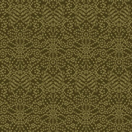 Floral leaf paisley motif running stitch style. Victorian needlework seamless vector pattern. Hand stitch foulard textile print. Old green antique handicraft decor. Embroidery quilt template.  イラスト・ベクター素材