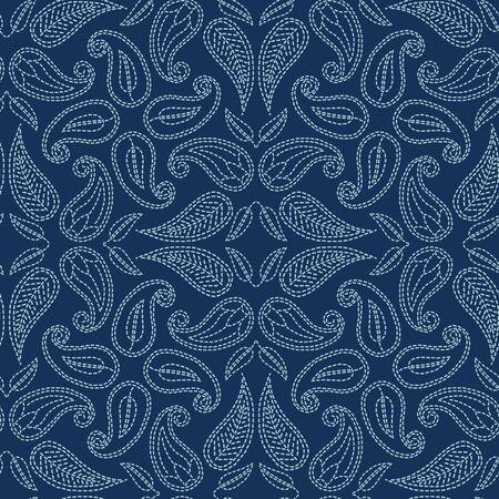 Foliage leaf damask motif sashiko style. Japanese needlework seamless vector pattern. Hand indigo blue lace textile print. Classic japan decor, asian fusion embroidery. Kimono quilt template.